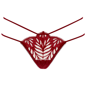 Sphinx thong by Tisja Damen - Bordeaux embroidered silk lace red burgundy gstring