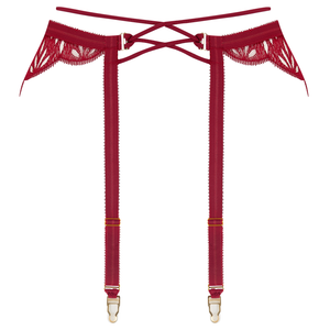Sphinx suspender by Tisja Damen - Bordeaux burgundy embroidered scalloped lace