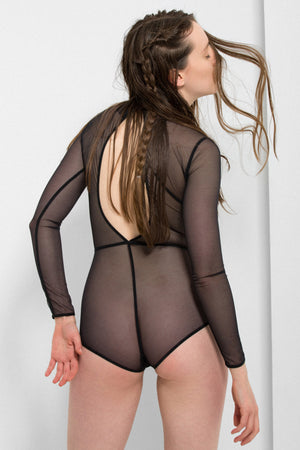 Ann Demeulemeester long sleeve tulle bodysuit - back