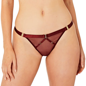 Bordelle Merida strap thong in morello red exclusive for kew and botanica