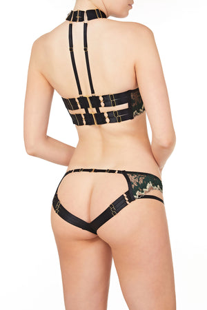 Bordelle Wilde ouvert wire bra and open back brief - black green gold back