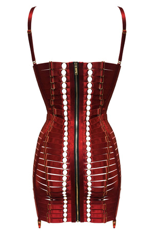 bordelle adjustable bondage angela dress elastic strapping - corset dress - burnt-red - back