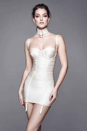 Bordelle Classic Angela dress and webbed garter worn as collar in cream