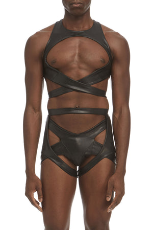 DSTM Maya mens suspender harness, Maya mens chest harness and Maya mens thong in vegan leather