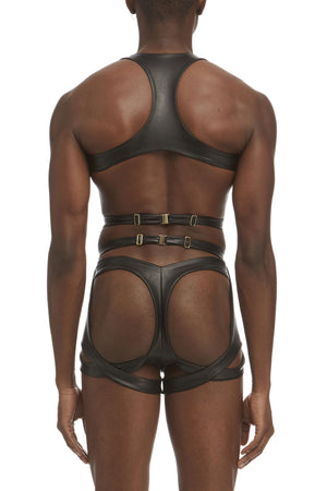 DSTM Maya mens suspender harness, Maya mens chest harness and Maya mens thong in vegan leather - back