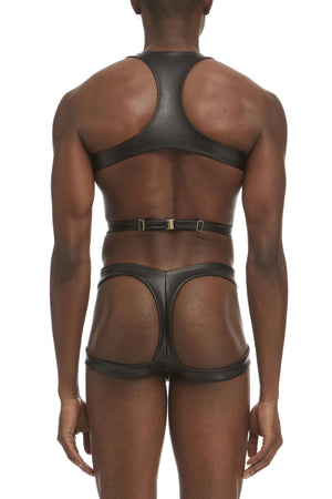 DSTM Maya mens harness and thong in vegan leather - back