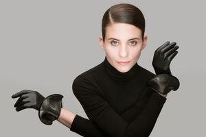 Thomasine Madrid leather gloves with gunmetal silver detail silk lined luxury