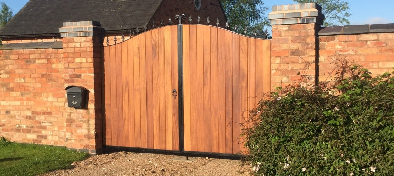 Metal Framed Driveway Gates - The Stratford with Iroko
