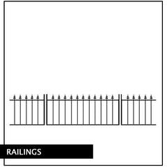 Metal Railings and Fencing. Designed to compliment our gate designs. Great wall toppers or used as a wrought iron fence. Made to any width by hand.