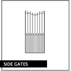 Metal Side Pedestrian Gates. Huge range of designs, handcrafted in the UK to any width.