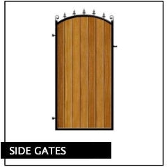 Side Pedestrian Gates. Metal Wrought Iron Framed with Timber Wooden Cladding