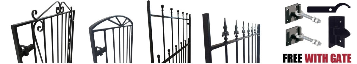 Metal Garden Gate design. We offer a full range of metal/ wrought iron front garden gates. Handcrafted in the UK to any width.