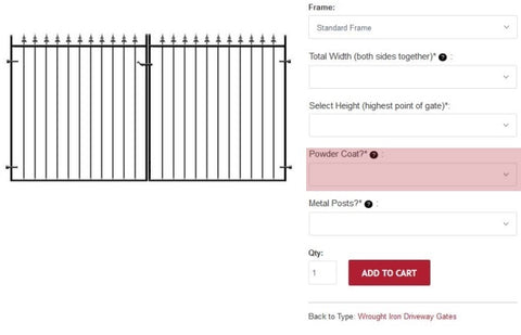 Powder coating metal gates and railings