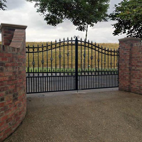 Goldsworth wrought iron estate gate bow top evador