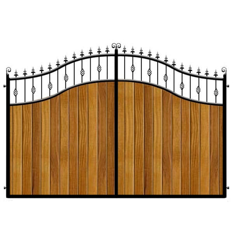 Aberdeen Estate Gates. Elegant double swan neck sweeping top with feature insets. Deep frame with the finest Iroko cladding.