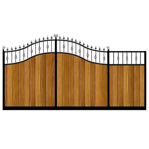 Aberdeen Sliding Gate. Double swan neck feature top. Deep metal frame with the finest timber cladding. Made to measure in the UK.