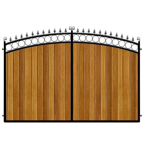 Feature bow top estate gates. The Bath design. Deep frame with Iroko hardwood cladding.