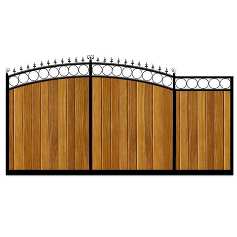 Bath Sliding Gate. Sweeping double bow top with feature rail and inset circles. Constructed by hand from the finest timber set within a deep metal frame.