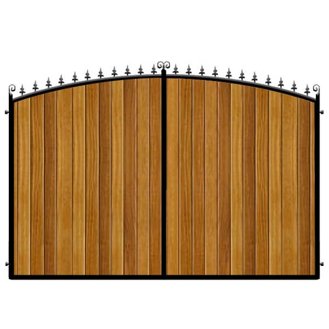 Bow top Estate Gates. The Dorchester. Featuring thick Iroko cladding within a deep metal frame.