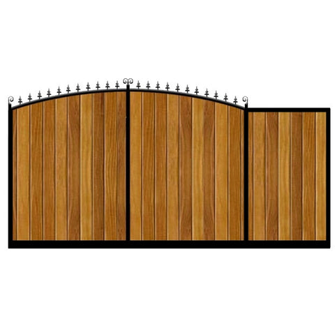 Dorchester Sliding Gate. Bow top design with feature header. Deep framed with the finest wooden cladding infill. Made to measure in the UK.