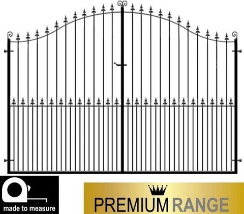 Estate Gates - The Surrey design. Produced by hand in the UK to any size using the finest metal/ wrought iron. Deep framed to add presence