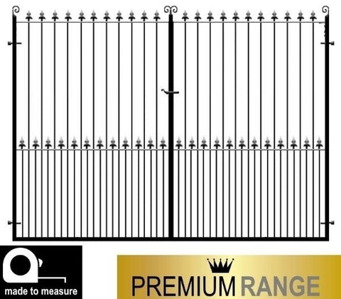 Estate driveway gates - The Darlington. Flat top design with feature fleur de lys header. Handcrafted in the UK to any width