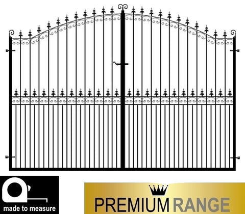 Francombe Estate Gates. Deep metal frames with thick inset bars.