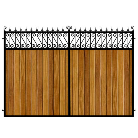 Lemmington Estate Gates. Handcrafted in the UK to any width. Combining the finest Iroko cladding set within a deep metal frame.