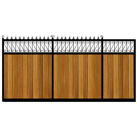Lemmington Sliding Gates. Handcrafted in the UK to any width. Combining the finest Iroko cladding set within a deep metal frame.
