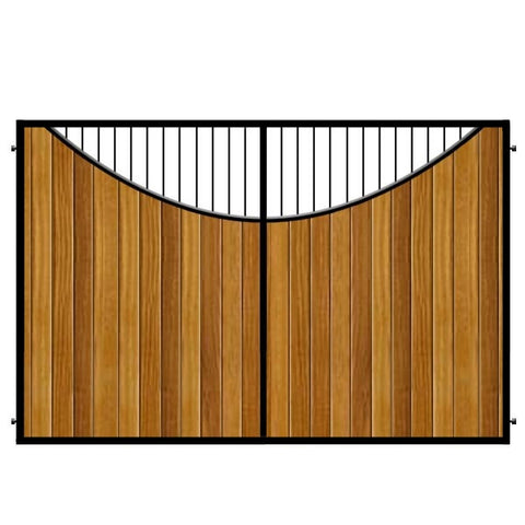Metal Framed Estate Gates. The Lyndhurst. Iroko cladding set within a deep metal frame. A truly elgant gate design.