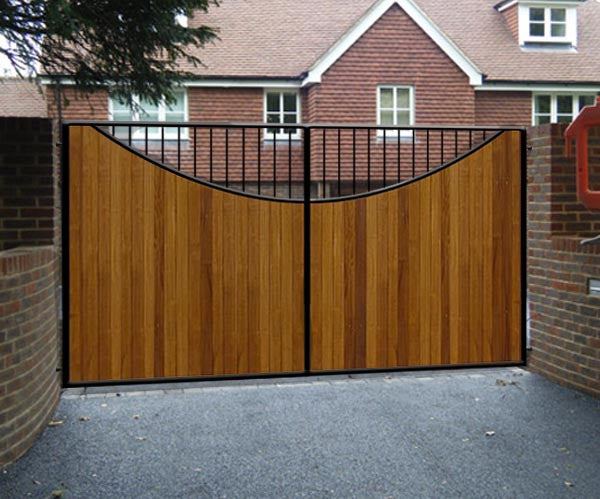 Lyndhurst Estate Gate Wrought Iron Frame Wooden Cladded