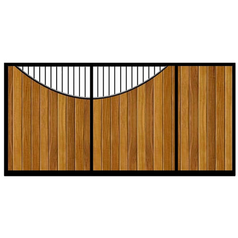 Lyndhurst Sliding Gate. Flat top design with feature inner bow opening. Stunning deep metal frame combined with the finest choice of timber.