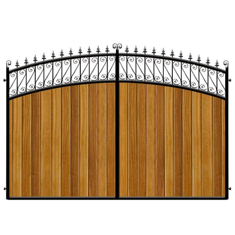 Oxford Estate Gates. Double bow header with feature top. Deep metal frame with the finest Iroko (hardwood) cladding. Elegant design.