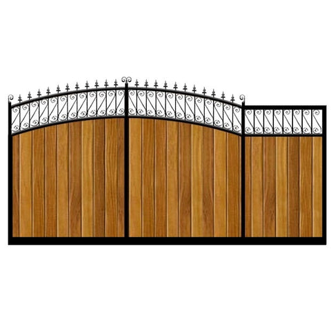 Oxford Sliding Gate. Elegant design with its double bow feature header. Deep frame with the finest timber infill. Made, by hand, to any width or height.