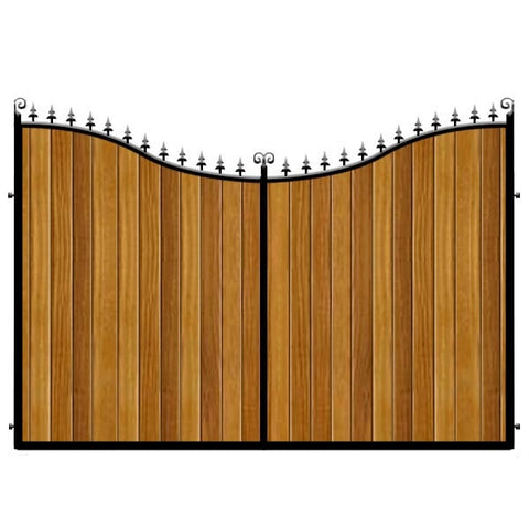 Sweeping inner bow. The Portsmouth Estate gates combines a deep frame with Iroko hardwood cladding.