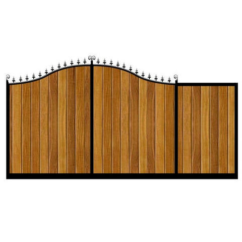 Elegant swan neck top. The Stratford Sliding Gate combines deep metal frames with the finest timber cladding to produce a stunning and durable sliding gate.