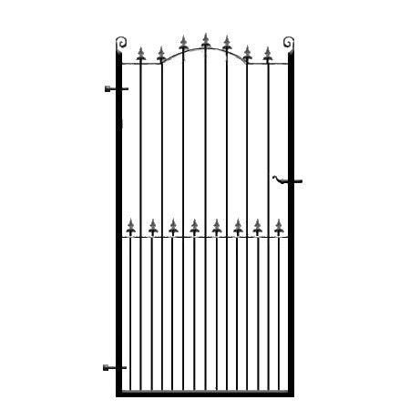 Premium metal side pedestrian gate. The Surrey. Set within deep metal frames with feature double header bow. Made to measure in the UK