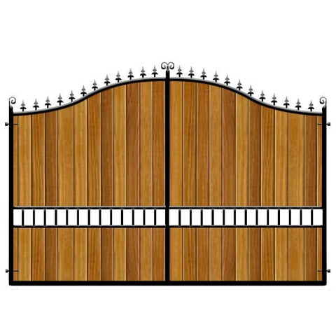 Waltham Forest Estate Gates. Bespoke sizes, handcrafted in the UK. Choose the cladding from Iroko or Cedar.
