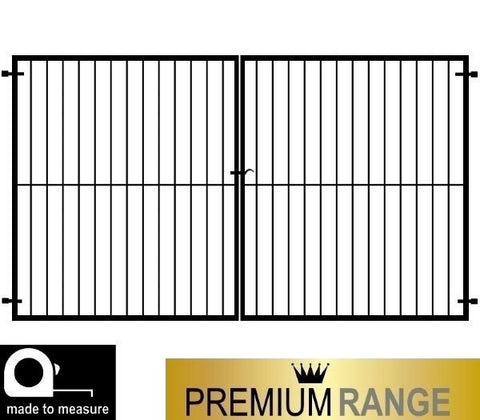 Secure metal gates. The Cheltenham driveway gate, flat top design created using 40mm x 40mm framework and 16mm infill bars. Constructed by hand in the UK to any width or height.