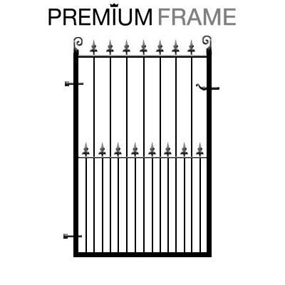 Darlington Metal Gate. Deep metal framed gate with feature fleur de lys header. An attractive garden gate design made to measure in the UK.