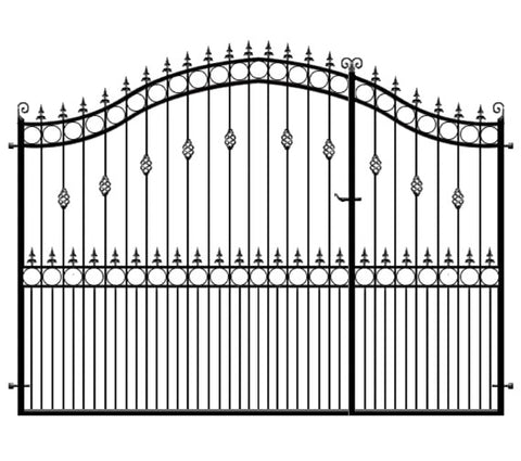 Goldsworth 3/4 Split entrance gates. Made in the UK to any size