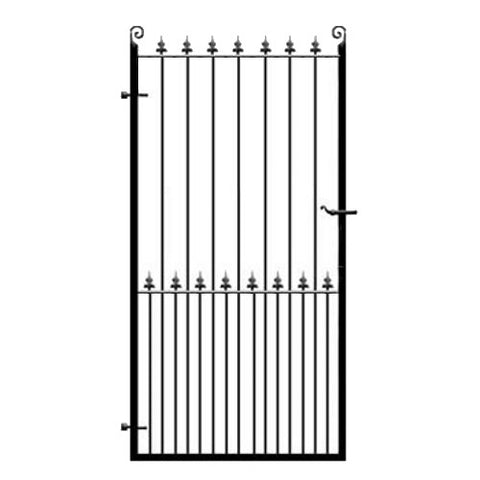 Darlington Wrought Iron Side Gate. Flat top design with feature fleur de lys header. Attractive style made to any width or height.