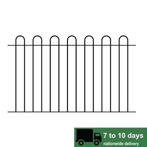 Metal fence railings, the Stoke. traditional design finished in black. Made to measure sizes available.