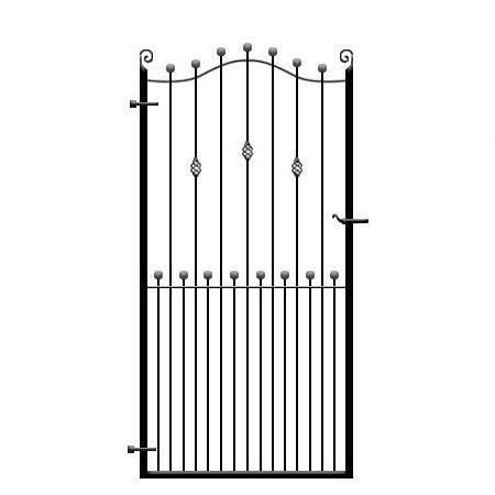 Bespoke metal side gates - the Wentworth. Choice of feature options, handcrafted in the UK to any width or height