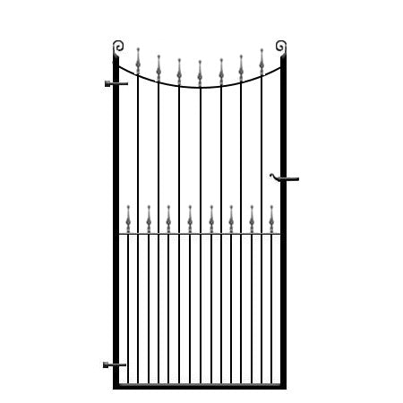 Wrought Iron Side Pedestrian Gate - The Winchester. Inner bow top with choice of decorative features. Handcrafted in the UK to any width or height.