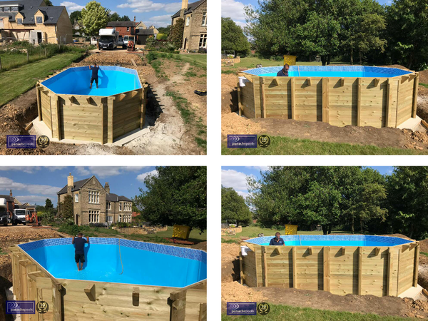 wooden pool installation
