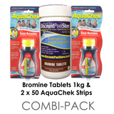 Bromine tablets and test strips