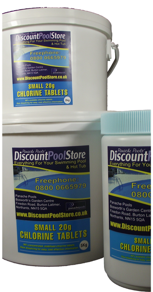Small 20g Chlorine Tablets For Spas Hot Tubs And Small Pools