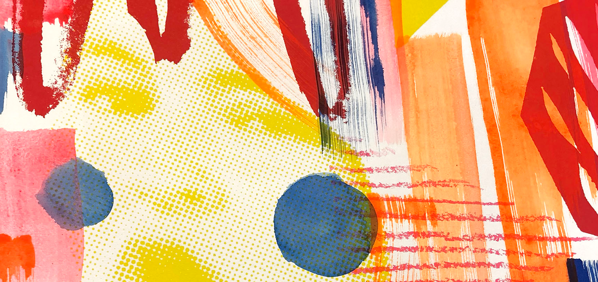 Banner showing bright screenprint by Josie Brookes