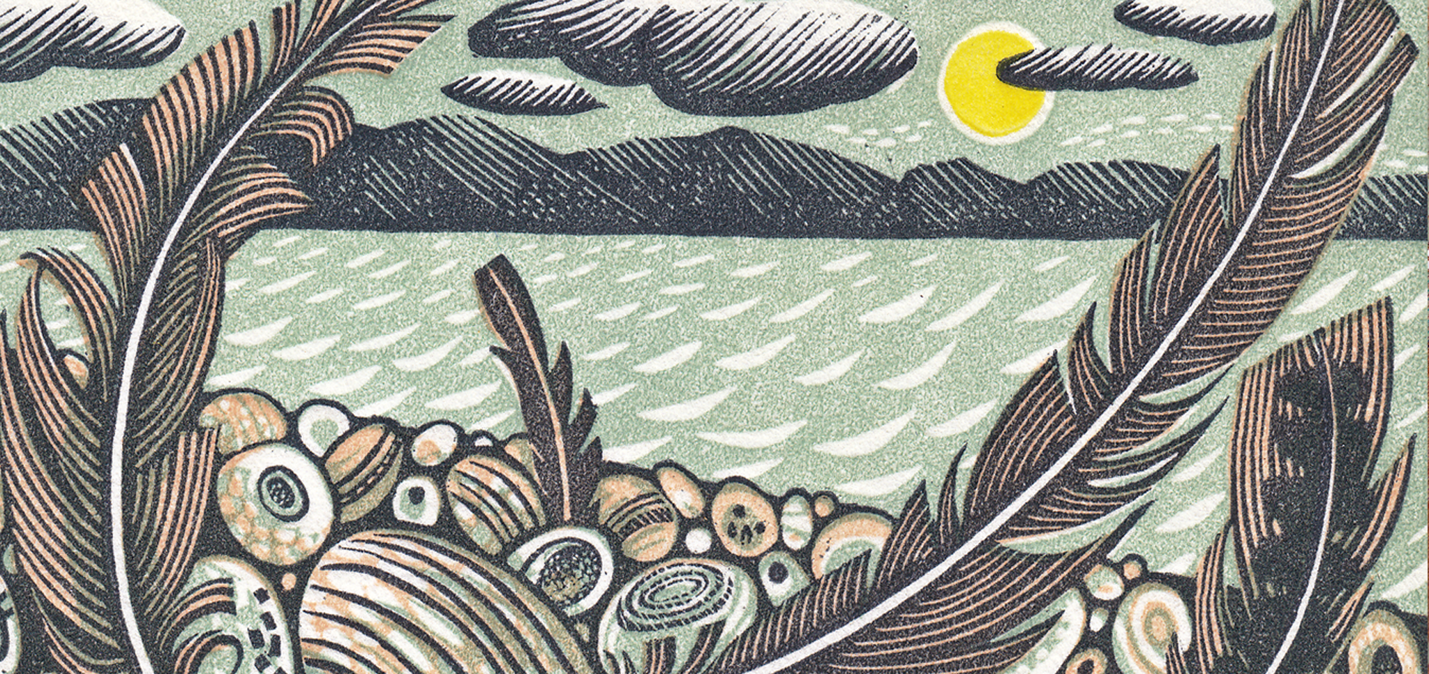 Angie Lewin. Tideline Feathers (detail)